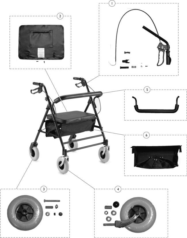 Invacare 66550 Bariatric Rollator Parts Invacare