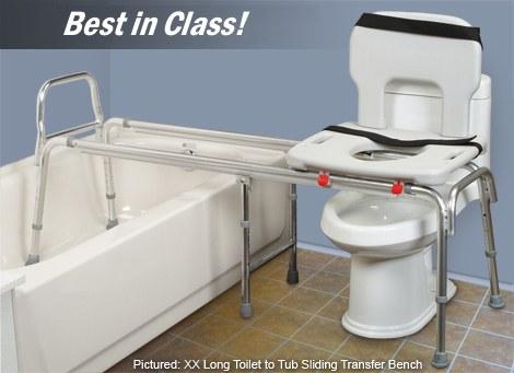 Toilet to Tub Sliding Transfer Bench - Extra Long Glider Bench