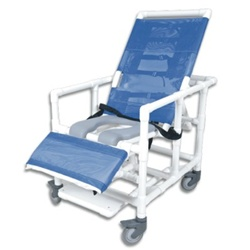 Pvc Reclining Bariatric Shower Commode Chair With Open Seat