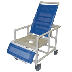 Pvc Reclining Bariatric Shower Commode Chair With 24 Quot Seat