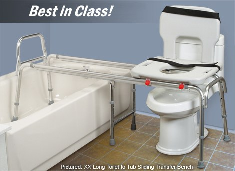 Toilet to Tub Sliding Transfer Bench Eagle 77993 - Extra Long ...
