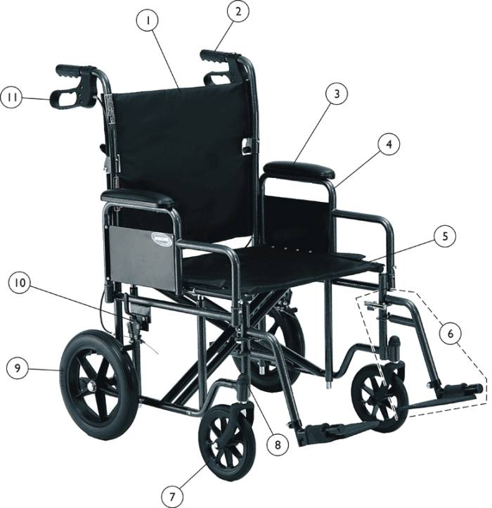 Transport Chair Replacement Wheels Replacement Parts for Invacare Heavy-Duty Transport Wheelchair ...