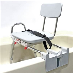 Tub Mount Sliding Transfer Bench Has Swivel Seat With Back